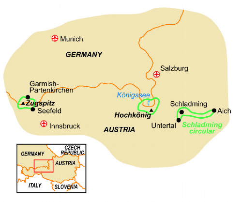 Map of our walking Holidays in Germany