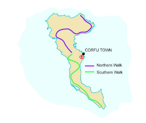 Map of our walking Holidays in Greece - Corfu