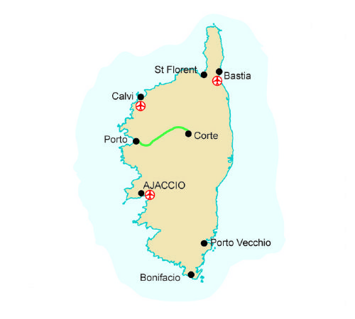 Map of our walking Holidays in France - Corsica