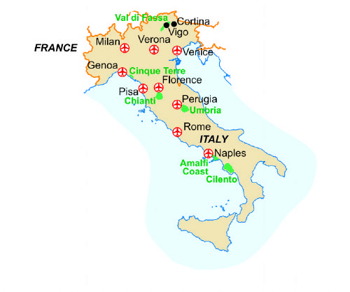 Map of our walking Holidays in Italy - Via Francigena