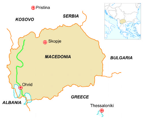 Map of our walking Holidays in Macedonia