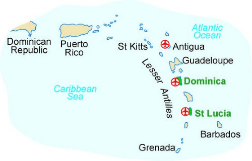 Map of our walking Holidays in Dominica