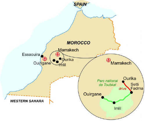 Map of our walking Holidays in Morocco
