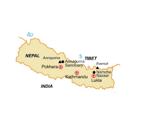 Map of our walking Holidays in Nepal
