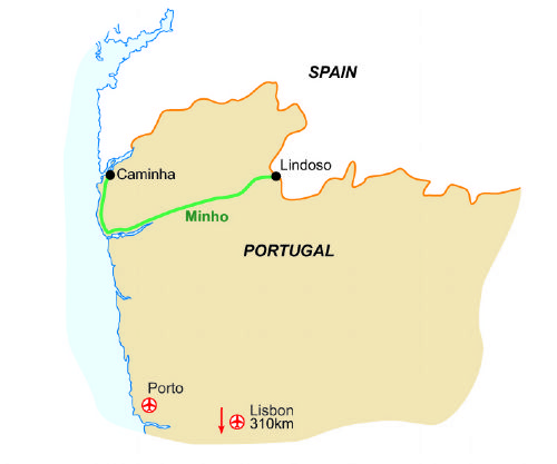 Map of our walking Holidays in Portugal - Mainland