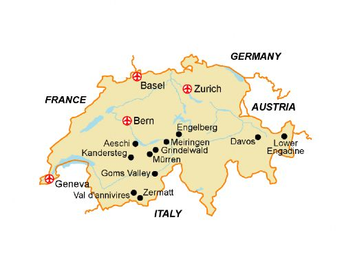 Map of our walking Holidays in Switzerland