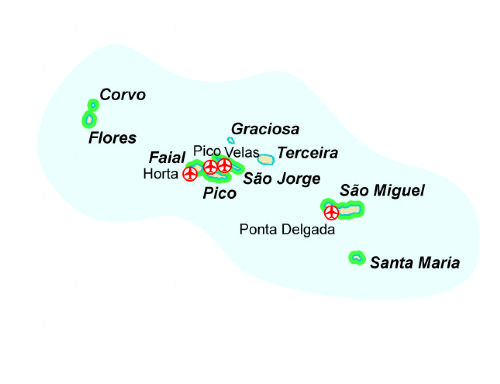 Map of our walking Holidays in Portugal - Azores