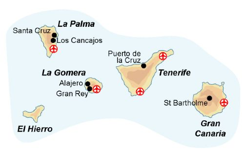 Map of our walking Holidays in Spain - Canary Islands