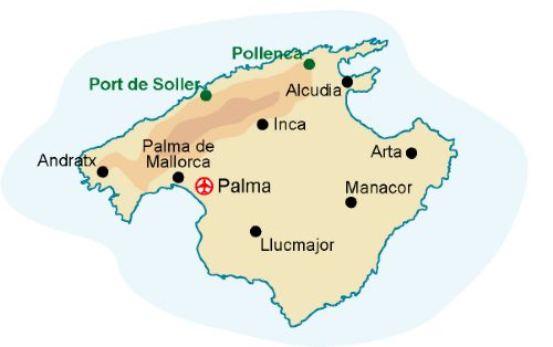 Map of our walking Holidays in Spain - Balearic Islands