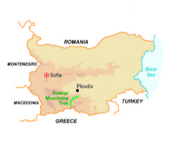 Map of our walking Holidays in Bulgaria - Click here to find out more about Bulgaria