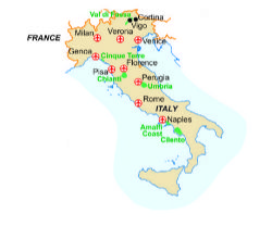 Map of our walking Holidays in Italy - Via Francigena - Click here to find out more about Italy - Via Francigena