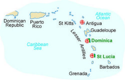 Map of our walking Holidays in St. Lucia - Click here to find out more about St. Lucia