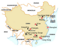 Map of our walking Holidays in China - Click here to find out more about China
