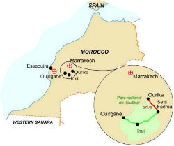 Map of our walking Holidays in Morocco - Click here to find out more about Morocco