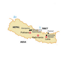 Map of our walking Holidays in Nepal - Click here to find out more about Nepal