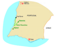 Map of our walking Holidays in Portugal - Mainland - Click here to find out more about Portugal - Mainland