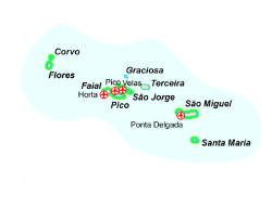 Map of our walking Holidays in Portugal - Azores  - Click here to find out more about Portugal - Azores