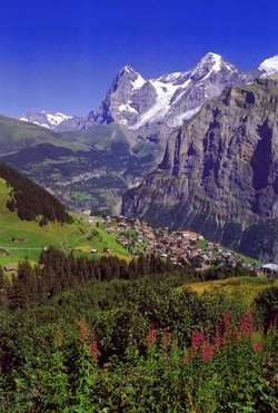Walking in Murren, Switzerland
